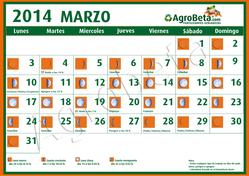 Calendario lunar 2014 blog de for Calendario menguante