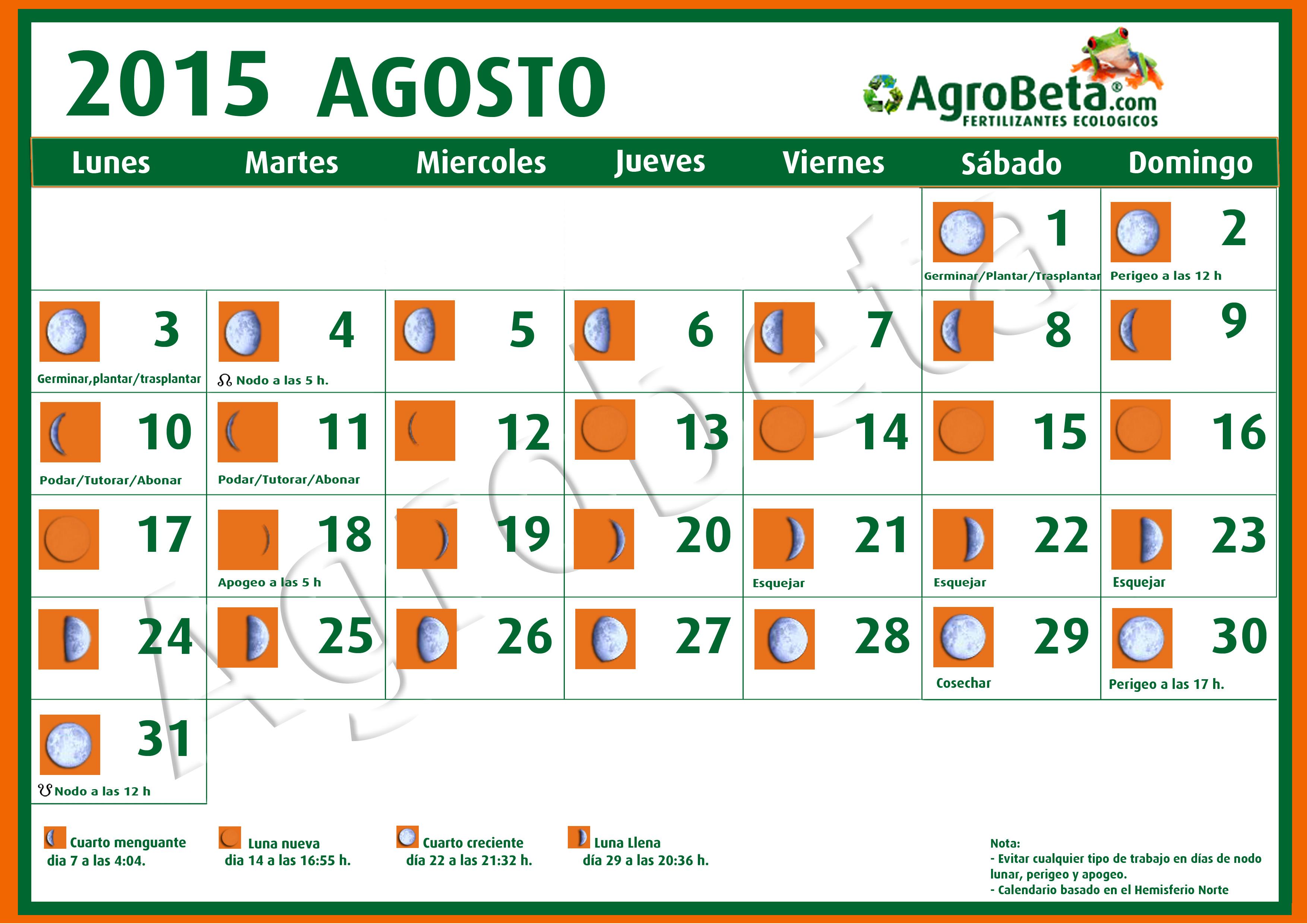 Luna Llena Calendario.Calendario Lunar Para Agosto De 2015 Blog De Agrobeta Com
