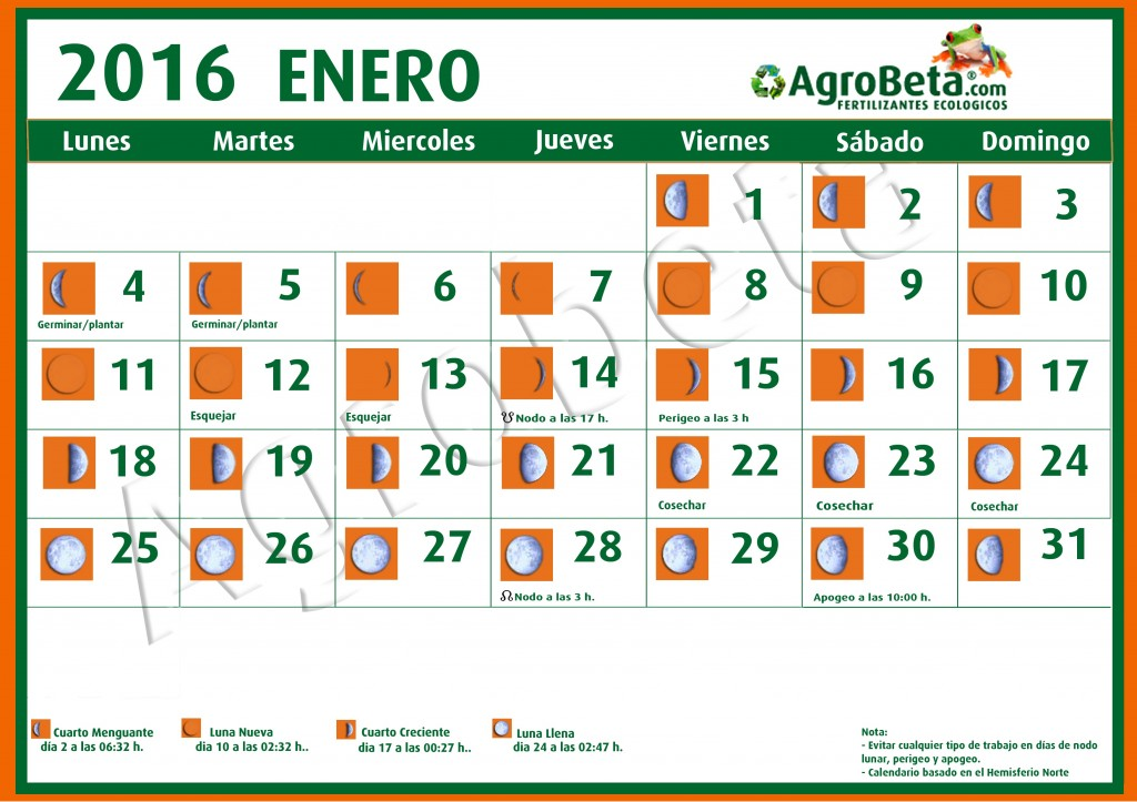 Calendario lunar de enero de 2016 blog de for Fase lunar octubre 2016
