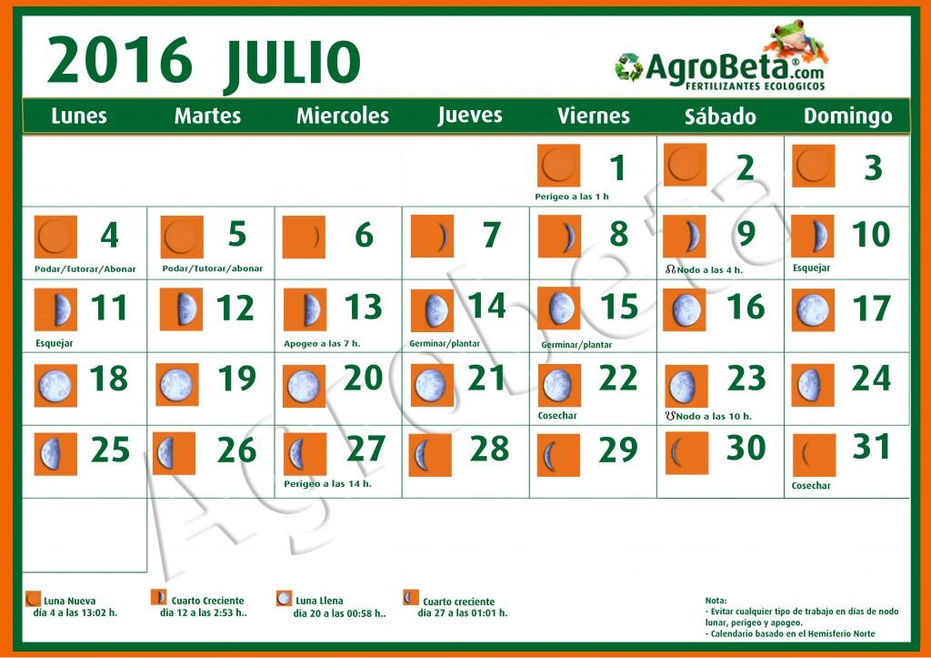 Calendario de Julio 2016