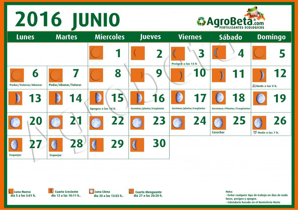 calendario lunar junio 2016