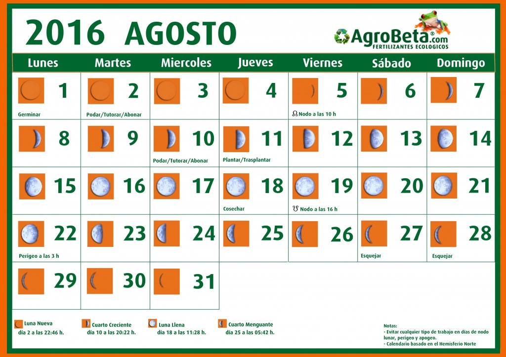 Calendario lunar agosto 2016 blog de for Calendario de luna creciente 2016