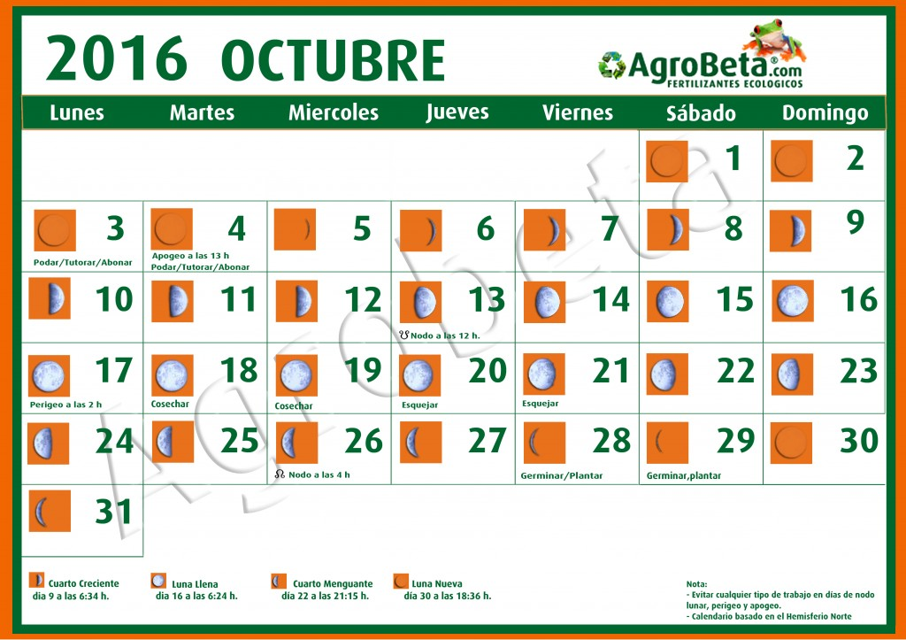Calendario lunar octubre 2016 blog de for Almanaque de la luna