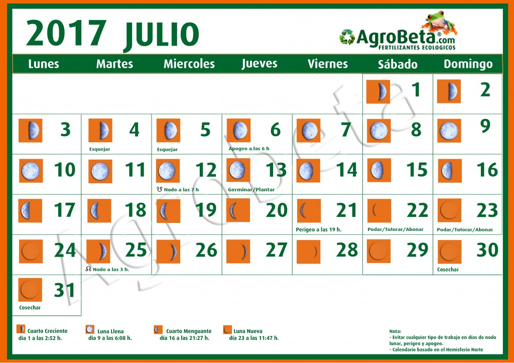 Calendario lunar de julio 2017 blog de for Cambio lunar julio 2016