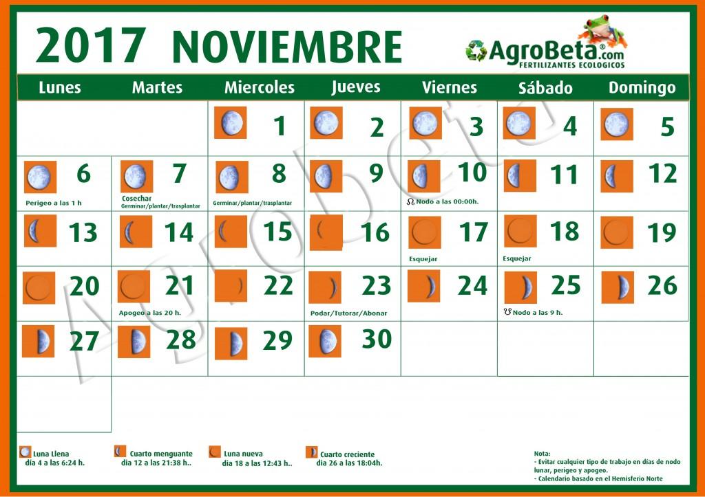 Calendario lunar de noviembre 2017 blog de for Almanaque lunar 2017