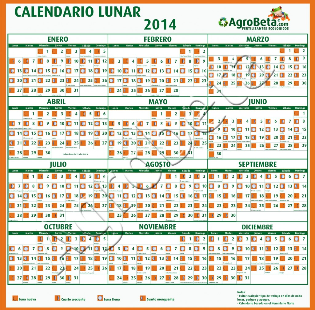 Calendario lunar 2014 agrobeta agrobeta for Calendario de luna creciente 2016