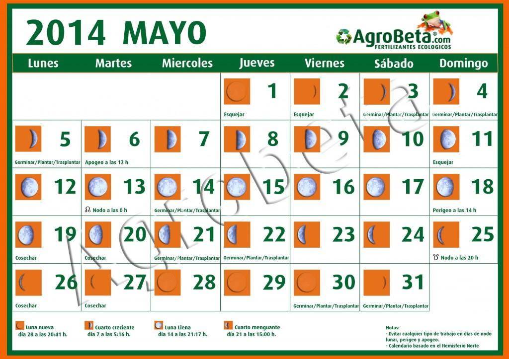 Calendario lunar mes de mayo de 2014 agrobeta for Calendario lunar mayo