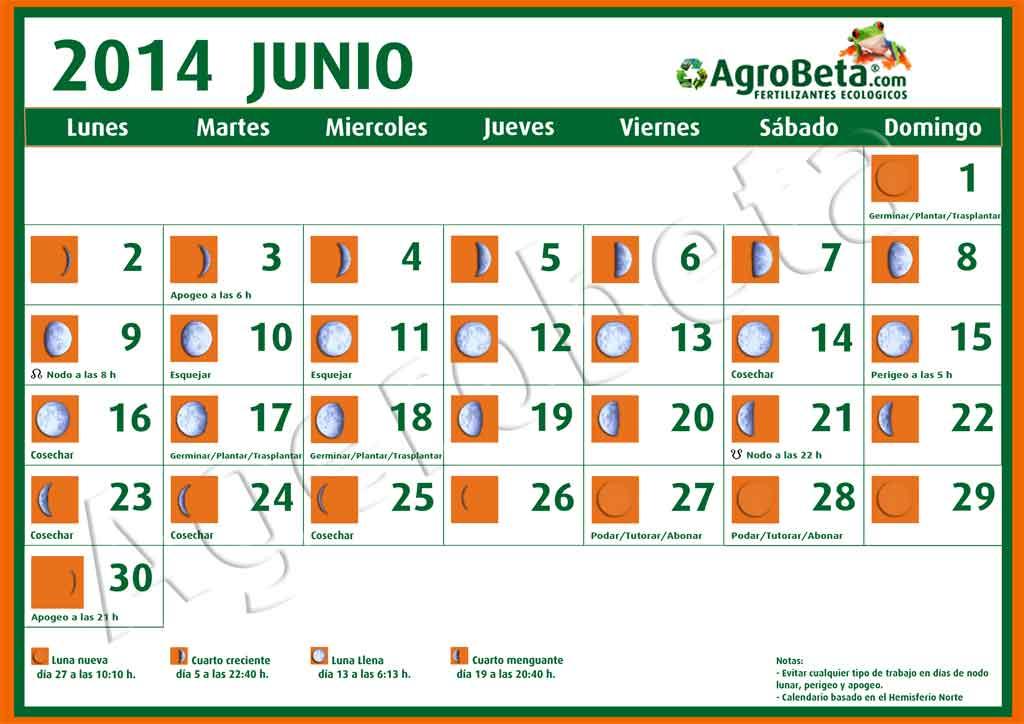 Calendario lunar para el mes de junio de 2014 agrobeta for Calendario lunar junio